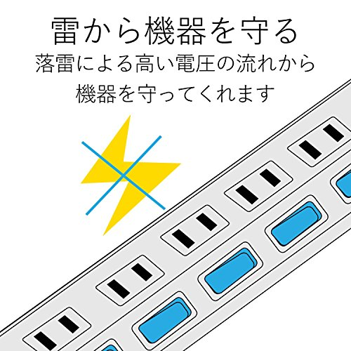 ELECOM 電源タップ 雷ガード 個別スイッチ ほこりシャッター付 4個口 5m ホワイト T-K6A-2450WH