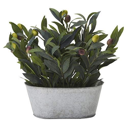RoomClip商品情報 - ドウシシャ 人工観葉植物 グリーン 約29.0cm オリーブ ブリキポット HAC-048
