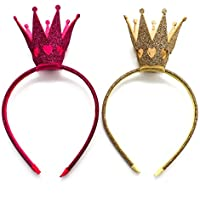 Huele 2パックGirlsカチューシャShinyクラウンプリンセス女の子クラウンヘッドバンドウェディング(ホットピンクとゴールド)