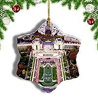 Weekinoフランスシャイヨー宮殿パリクリスマスオーナメントクリスマスツリーペンダントデコレーション旅行お土産コレクション陶器両面デザイン3インチ