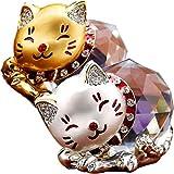 [S.fields.inc] クリスタル 猫 水晶 金運 風水 猫 かわいい 招き猫 金の箱 猫グッズ (金&銀セット)