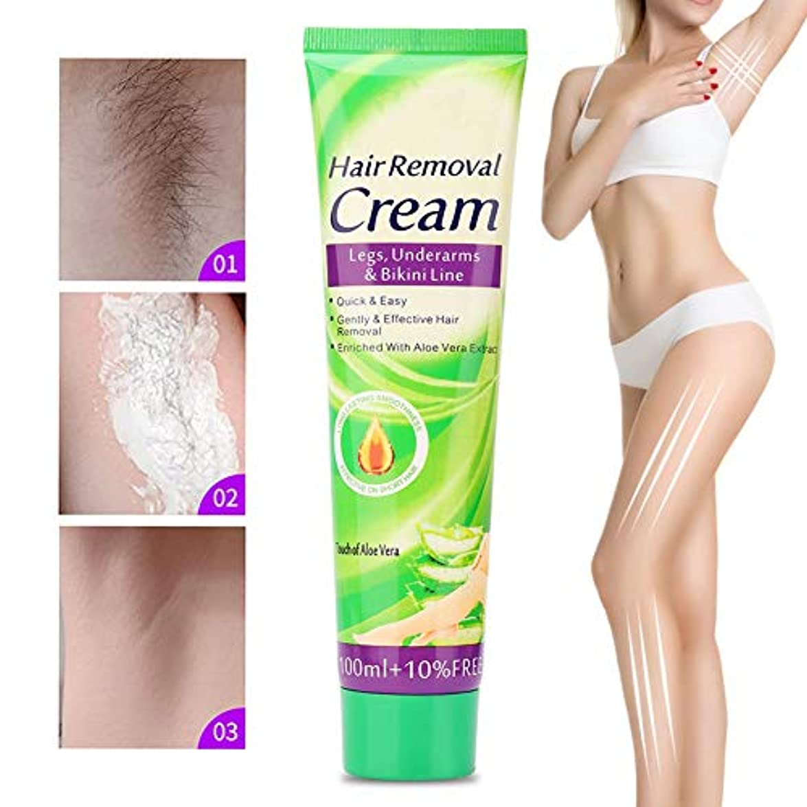 ご覧ください汚すオフセット110ml脱毛クリーム、痛みのない安全でプレミアムソフトな脱毛クリーム男性と女性が脚の腕の下で使用するのに便利