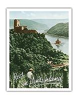 ドイツへの旅 - Fuerstenberg城跡 - ライン渓谷 - ビンテージな世界旅行のポスター によって作成された F.クラッツ c.1950s - アートポスター - 28cm x 36cm