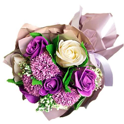 ソープフラワー 花束 ブーケ パープル 紫 シャボンフラワー 造花 アーティフィシャルフラワー アレンジメント 花 枯れない アートフラワー 誕生日 お祝い 発表会 還暦 古希 敬老の日 挨拶 お見舞い 紫