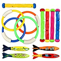 Underwater水泳ダイビングプールおもちゃリング4個、Diving Sticks 5個とTorpedo Bandits 4個セットunder water gamesトレーニングGift for Boys Girls