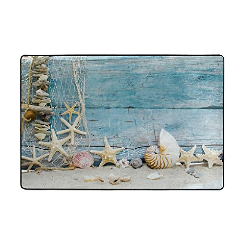 エリアラグ23.6 X 15.7インチソフトノンスリップフロアマット砂砂浜ヒトデMarine Seashellsシーンno毛玉とフェードドアマットカーペットの寝室装飾by josid 36 x 24 inch
