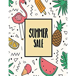 Summer Sale: Flamingoes and Many Fruits on Light Pink Cover and Dot Graph Line Sketch Blank Pages, Extra Large (8.5 X 11) Inches, 120 Pages, White Paper, Sketch, Draw and Paint