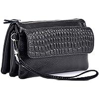iSuperb Women Clutch Leather Wristlet Zipper Wallet Purse Shoulder Bag Cross Over Bag Card Bag Handbag with Removable Wrist Strap 6.9x3.7x1.8 inches (Black)