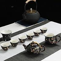 どのように-コーヒー&ティー用品 @ 9点 磁器 ティーポットセット 耐熱の 、 17*17*10;16*16*10;10*10*13;7*7*5cm:ブラック