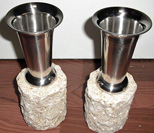 ステンレス花立 (丸型) 御影石台座付き 全国送料無料(一部地域を除く)設置資材付き 墓用品 墓小物