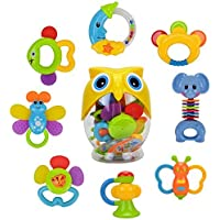 Teether Rattle Set Baby Toy - Happytime SLE84822 (2017 New Design)8pcs Latest Rattle & Teether Toys with Adorable Color in Owl Bottle for Newborn Baby [並行輸入品]