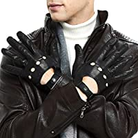 Mens Smart Soft And Thin Excellent Quality Lambskin Touch Screen Black Leather Driving Gloves