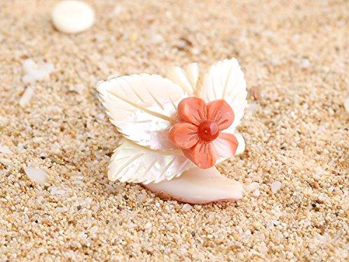 花 タイタックピン 桃色珊瑚&地中海産珊瑚&夜光貝製
