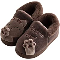 JACKSHIBO Cute House Slippers Kid Fur Lining Warm Indoor Slippers Comfortable Pattern Winter Home Slippers for Girls Boys