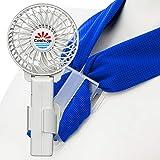 濡れタオルつき扇風機 冷却タオルファン (水の気化熱で6℃マイナス, 服の中へ送風) USB充電池式 ハンズフリー ハンディファン 携帯扇風機 首掛けタオル付 (3インチファン白,タオル青)