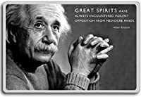 Albert Einstein, Great Spirits Have Always Encountered Violent Opposition From Mediocre Minds - motivational inspirational quotes fridge magnet - ?????????