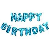 ケイ?ララ 風船 誕生日 飾り付け 特大 バースデー アルミ バルーン 装飾 HAPPYBIRTHDAY [ブルー] y1