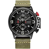 CURREN Men's Watch Analog Display Quartz Watches with Leather Band Chronograph Wristwatches 8278 (Green)