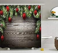 クリスマス&新年おめでとう シャワーカーテン 浴室 間仕切り 防水 防カビ リング付属 風呂用 目隠し バスカーテン 165x180cm