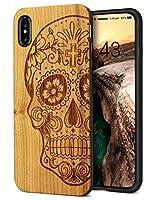 iPhone Xs Max ケース ウッドケース TPU+木 黄 和風 ドクロ 絵柄 レーザー彫刻 ワイヤレス充電対応 人気 人と被らない YFWOOD 高級 アイフォンXs Max 対応 高級 iPhone Xs Max wood カバー 手作り 6.5インチ 指紋防止 軽い