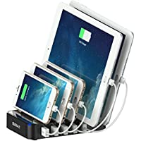 Galaxy S8 ZiBay Quick Charge 2.0 5-Port USB Charging Station Multi-Port Stand Dock Desktop Organizer for iPhones iPads Tablets Samsung Galaxy Nexus HTC and more (BLACK) [並行輸入品]