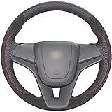 Best カスタムアクセサリーステアリングホイール - lonckyブラック本革自動カスタムステアリングホイールカバー用シボレーシボレークルーズ20112012201320142015/ Chevrolet Sonic LT 2012201320142015201620172018/シボレーTrax 2015201620172018 Review