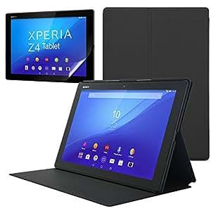 Xperia Z4 tablet 用 (docomo SO-05G / au SOT31 / softbank / wi-fi 版 ) オートスリープ機能つき レザーケース & Xperia Z4 専用 液晶保護フィルム(光沢タイプ)  スタンド機能  (Z4 tab, ブラック 3WAY)