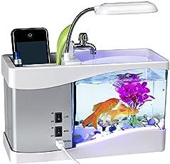 Minsell 卓上 ミニ 水族館 机の上で魚が飼える癒しアイテム 小物 サウンド 循環ポンプ 内蔵 ブラック USB LED 時計 クロック アラーム付き ライトアップ 加湿器 (ホワイト)