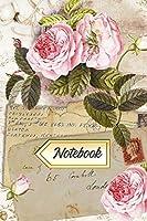 Notebook: Blank Lined Notebook Journal - Vintage Pink Roses Ephemera Collage Design Cover