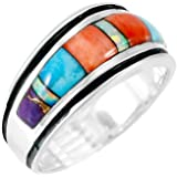 Turquoise Ring Sterling Silver 925 & Genuine Gemstones (SELECT color)