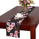 LKCDNG テーブルランナー 黒い 美しい 和風の花 クロス 食卓カバー 麻綿製 欧米 おしゃれ 16 Inch X 72 Inch (40cm X 182cm) キッチン ダイニング ホーム デコレーション モダン リビング 洗える