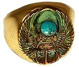 Patina真鍮エジプトモチーフScarab Ring–ターコイズ