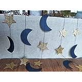 Furuix 月と星 ガーランド 装飾 ネイビーゴールド 宇宙 誕生日パーティー 装飾 ネイビーブルー ゴールド 月 星 ベビーシャワー デコレーション 1歳の誕生日 ガーランド 月と背中への愛 STAR-MOON-L-2