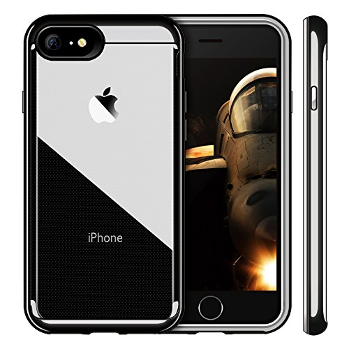 iPhone 8 ケース カメラ保護 iVAPO iPhone 8 /iPhone 7 カバー PC+TPU二層構造 耐衝撃 シンプル 軽量 アップルアイフォン 8 4.7 インチ 専門ケース カメラ 保護 (iPhone 8/7, ブラック)