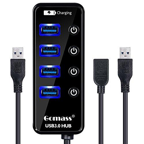 Gomass USB3.0 ハブ 4ポート+ USB3.0延長ケーブル 高速 USB HUB バスパワー 個別スイッチ付き