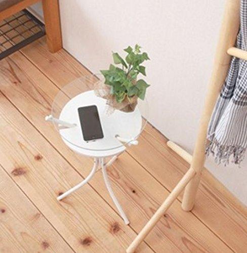 弁天インテリア スタイリッシュ サイドテーブル ガラストップ 収納棚付き ホワイト 組立品