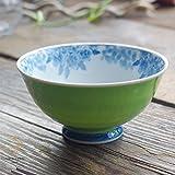 有田焼 波佐見焼 染付け桜の カラー ご飯茶碗 飯碗 (新緑グリーン 緑) 和食器 和風