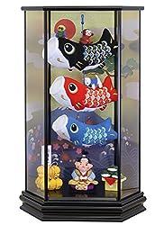五月人形 室内用鯉のぼり 脇飾り 六角ケース飾り 桃太郎鯉のぼり 間口36×奥行26×高さ57.6cm