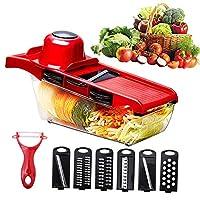 1つの野菜のチョッパー、フードチョッパー、スライサー、交換可能なブレード、安全性材料で6