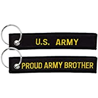 Proud Army Brotherブラック刺繍キーチェーン