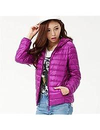 EASONDDD レディース ダウンジャケット 軽量 ウルトラダウン コート ジャケット ライトコート カジュアル ショート丈 アウター アウトドア 冬 防寒 防風 暖かい 帽子付き 大きいサイズ 便利な収納袋付き