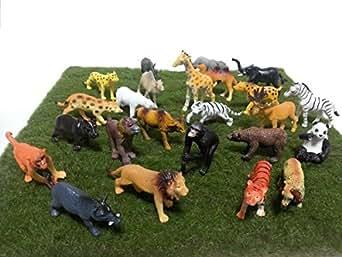 動物園 フィギュアセット 24種類の動物 高級人工芝生付 ライオン トラ キリン ゾウ カバ など