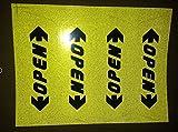 Obula ( TM ) 4ピース/パックドアオープン警告注意反射ステッカー車のステッカードア安全運転にforシボレークルーズVolt Camaro Captiva イエロー