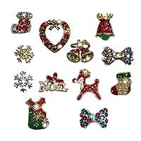 クリスマス 合金パーツ デコ ネイル レジン用 サンタ リース スノーマン ツリー 雪の結晶 12種類