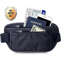 FREETOO ウエストポーチ RFIDブロッキング素材 セキュリティポーチ 個人情報を保護可ランニングポーチ 盗難対策/スキミング防止/海外旅行/出張/貴重品入れ 携帯収納可 薄型 通気