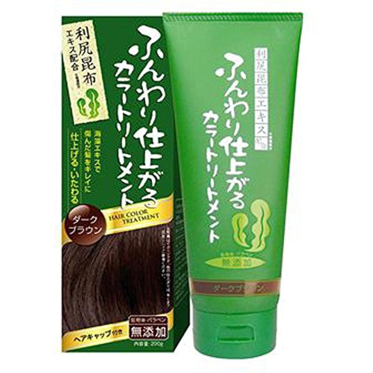 暗い既に依存ふんわり仕上がるカラートリートメント 白髪 染め 保湿 利尻昆布エキス配合 ヘアカラー (200g ダークブラウン) rishiri-haircolor-200g-dbr