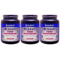 【3個セット】<グリーンアップル>[ 大容量1kg ] BCAA(分岐鎖アミノ酸)+Lグルタミン【海外直送品】