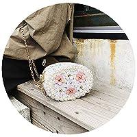 かわいいミニバッグ 女性2019新しい小さなフラワーチェーンバッグメッセンジャーバッグ,白色,14*11*6cm