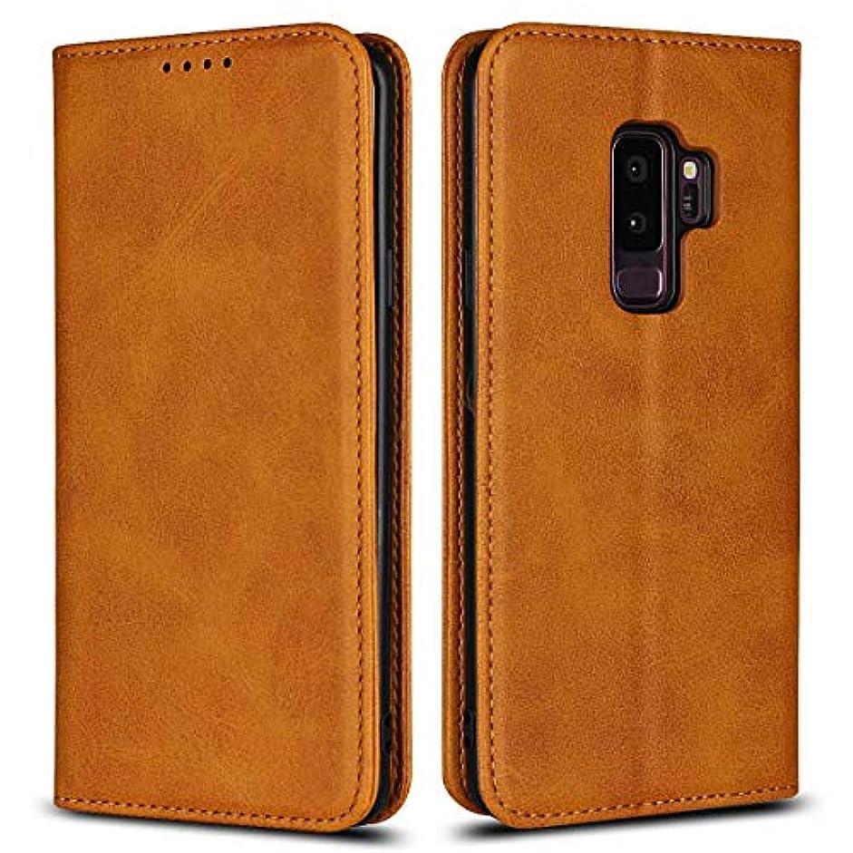 南受粉者ラバGalaxy S9 Plus ケース、DENDICO ギャラクシGalaxy S9 Plus 手帳型ケース 財布型ケース シンプル 軽量 薄型 カバー マグネット式 カードポケット付き 全面保護 ケース –ライトブラウン