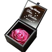 アートテック 名入れ ミラー&ダイヤモンドローズ プリザボックス カラー:パリスピンク